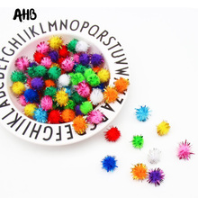 100Pcs/lot Sequins Pompom Ball Fur Plush Mixed Color Creative Kids Handmade Material Glitter Foam DIY Craft Supplier