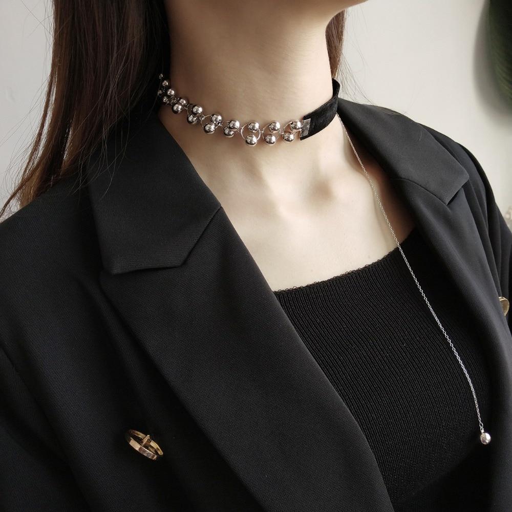 Retro Women Black Velvet Charm Choker Necklaces Long Rope Silver Gold Leaf