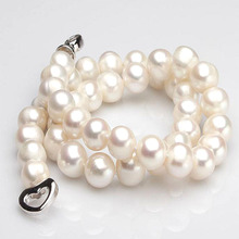 S925 Silver Sterling Button Fashion Freshwater Pearl Necklace8-9mm For Womens Prom /Party Jewelry