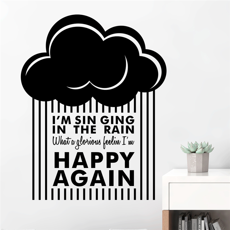 Inspiring Happy Again Quotes Wall Stickers Home Decor Living Room Vinyl Clouds Raining Decals Diy Mural Art Black Wallpaper