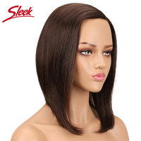 SleekColor #4 Brazilian Wigs For Black Women Bob Wig Straight Non Lace Wig Human Hair Remy Short Wigs Side Part