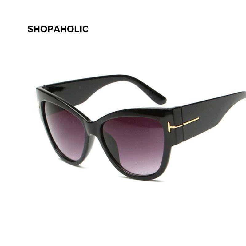 New Gradient Points Cat Eye Women Sunglasses Tom High Fashion Sun Glasses Female Cateyes Sunglasses Women Brand Designer Oculos