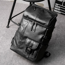 Vintage Crazy Horse Leather Men Backpack Travel School Fashion Rucksack Book Bags