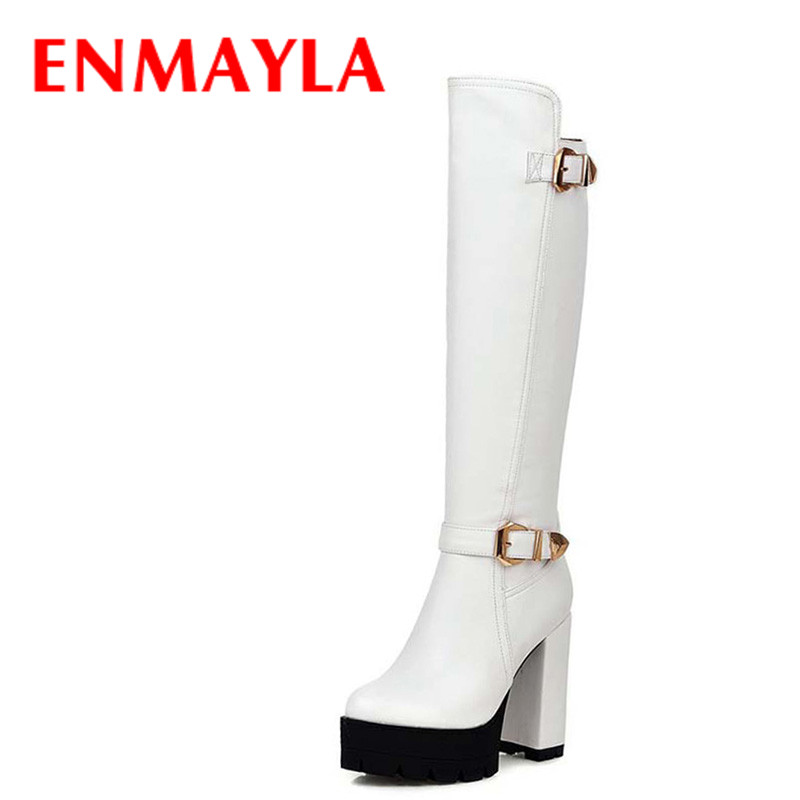 ENMAYLA Knee High Boots Women High Heel Boots Black White Shoes Woman Round Toe Winter Platform Boots Buckle Long Knight Boots boots women high heel black crystal winter zipper shoes 2017 round toe square heel knee high short plush platform leather boots