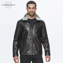 ANDREW MARC 2016 Fur Mandarin Collar Sheepskin 100% Leather Jacket Men Coat New Fashion Winter Overcoats Slim S-XXL TM6A2113