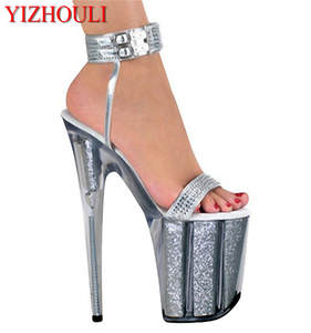 b891342920a14f bling 8 inch 20 cm bride wedding shoes silver high heels Platform sexy shoes