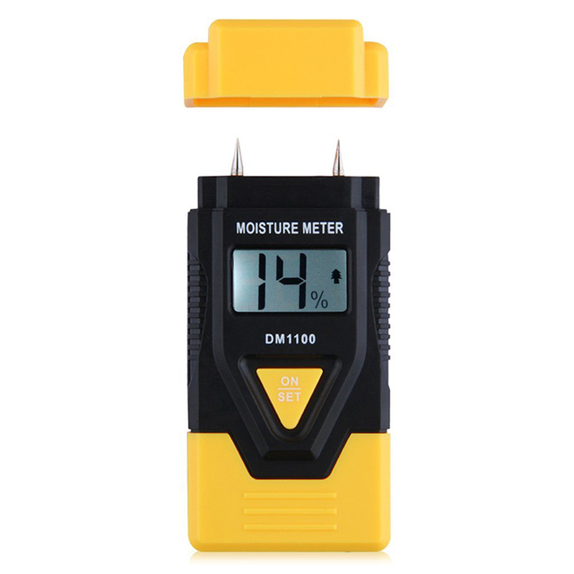 MINI 3 in 1 Wood/ Building material Digital Moisture Meter,Sawn timber,Hardened materials and Ambient temperature(C/F)(Yellow)