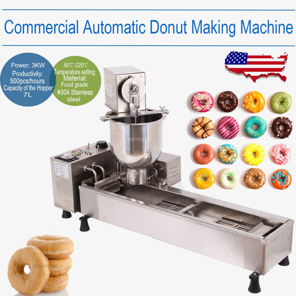High quality Auto Donut Commercial Electric Cake Donut Maker Making Machine Wide Oil Tank with 3 Mold donut making frying machine with electric motor free shipping to us canada europe