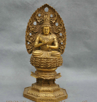 10'' China India Shakyamuni Buddha Seat Lotus Bronze Statue R0712 35%