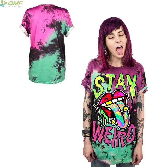 Sexy Tongue Print Female t-shirt Casual Loose Tee Stay Weird Short Sleeve Halloween Party Shirt Bad Girl Club Tops Punk Tshirt