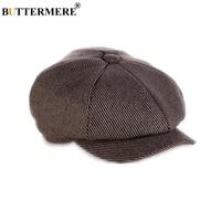 BUTTERMERE Flat Cap Men Wool Newsboy Caps Women Tweed Beret Hat Male Gatsby Octagonal Spring Autumn Brown Striped Hat Cap