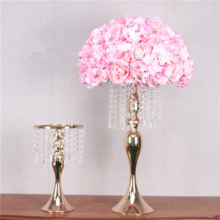 Image 3 - New S shaped crystal acrylic bead curtain rotating road lead wedding props Ferris wheel Mermaid candlestick flower bracket vase-in Artificial & Dried Flowers from Home & Garden