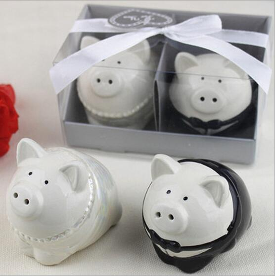 Unique Design Gray Piggy Wedding Salt And Pepper Shakers Gifts Free Shipping 40pcs 20sets