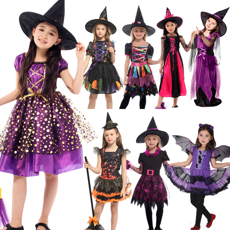 Witch Suit Cosplay For Girls 2019 New Halloween Party Children Costume Clothing Set Halloween Witch Dress Hat cloak Accessories