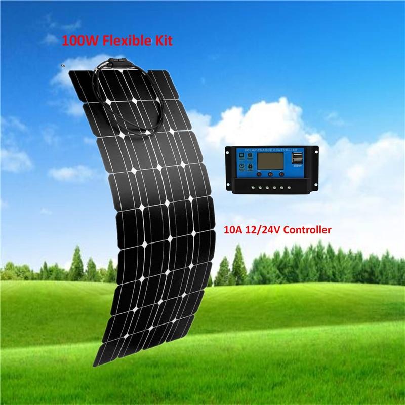10A 12//24V Solar Controller 100W 12V Outdoor Flexible Mono Solar Panel Charge