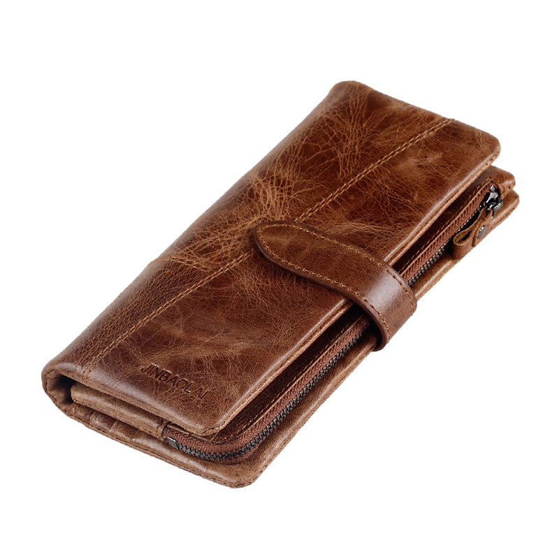 Men Wallet Genuine Leather Card Coin Holder 2017 Hot Sale Trifold Long Phone Clutch Casual Photo Famous Brand Money Male Purse hot sale vintage wallets men brand design money bag genuine leather wallet clutch dollar price classic male coin purse for phone