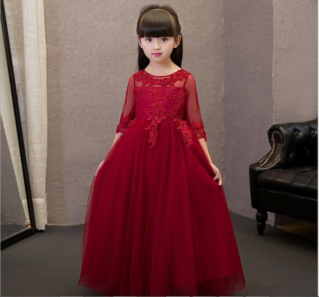 New Arrival Red Tulle Exquisite Lace Princess Girl Dress Kids Baptism Party  Prom dress Girls Wedding Birthday Gown dad2eef5513e
