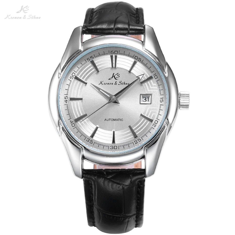 KS Royal Silver Case White Date Display Crystal Case Back Mechanical Black Leather Band Strap Men's Automatic Wrist Watch /KS254