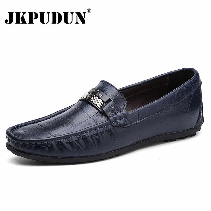 JKPUDUN Genuine Leather Men Shoes Luxury Brand Loafers 2018 Italian Designer  Mens Shoes Casual Black Slip On Moccasins Big Size