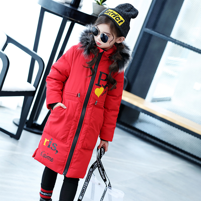 HYLKIDHUOSE 2018 Winter Girl duck down Coat Female Children Long Jacket Warm Thicken Outdoor Hooded Outerwear Student Parkas 2015 new hot winter thicken warm woman down jacket coat parkas outerwear hooded loose slim plus size 2xxl long luxury cold red