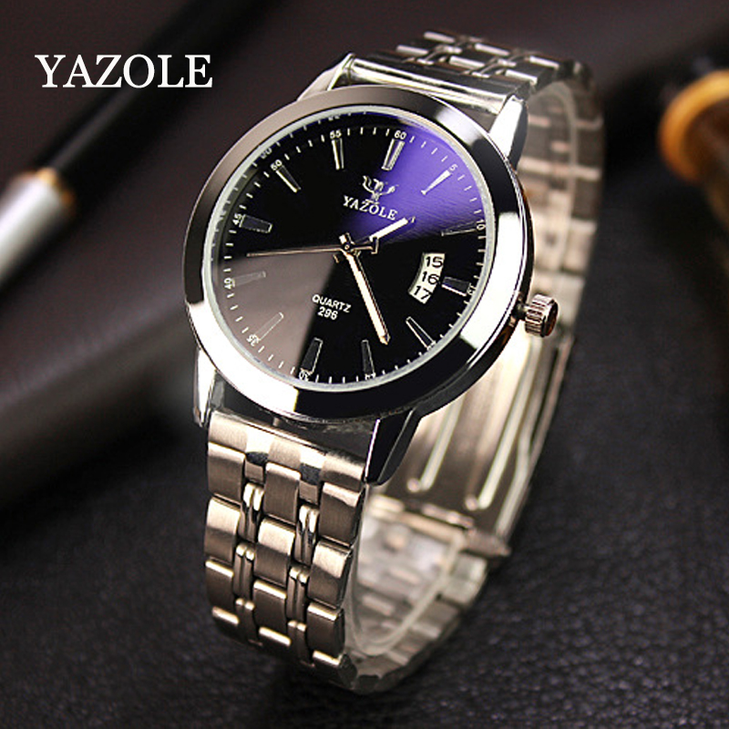 YAZOLE Luxury Brand Stainless Steel Analog Display Date Waterproof Men's Quartz Watch Business Watch Men Watch Relogio masculino