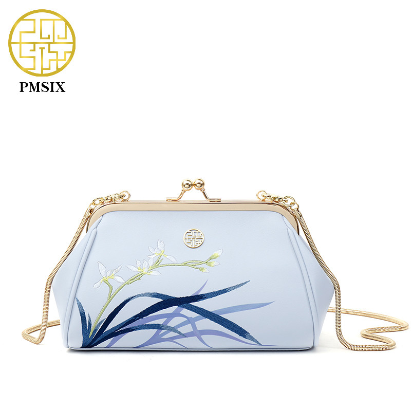 PMSIX 2019 Summer Embroidery Womens Leather Shoulder Bag Metal Clasp Small Chain Bag Women Vintage Evening