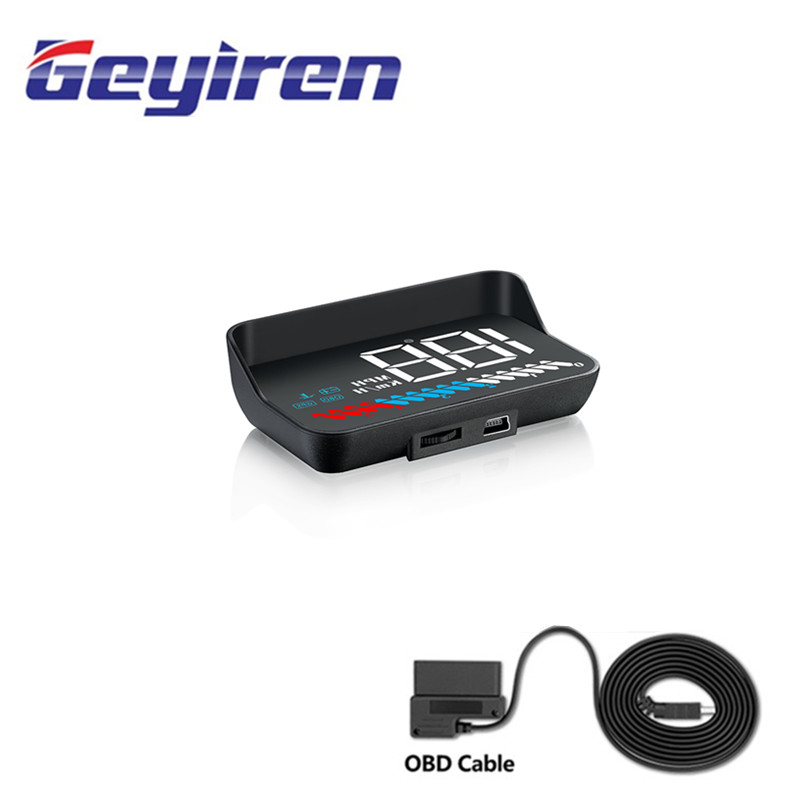 GEYIREN M7 With Lens Hood Car HUD display suitable for any cars head up display Windshield Projector Alarm System Universal Auto