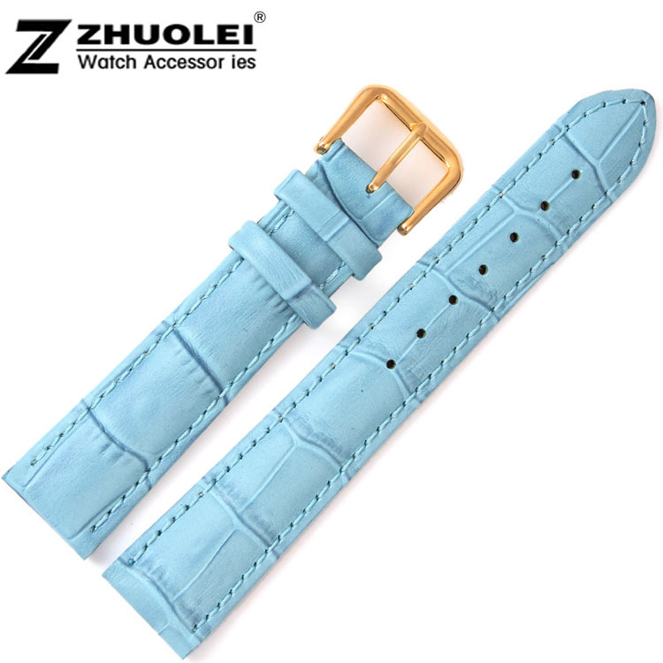 20mm New High quality Light Bule Alligator Pattern Genuine Leather Watch Bands Straps Bracelets Gold Deployment Clasp Buckle alligator leather watchband brand style straps bracelets wristwatches accessories with free buckle deployment 20mm 21mm 22mm new