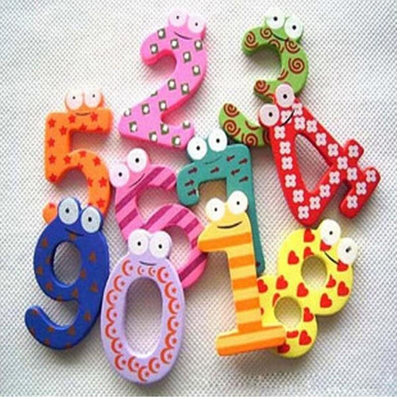 2017 New 10 Pcs Set Number Large Cartoon Educational Toy Wooden Fridge Magnet Kid toys for children kids educational Games