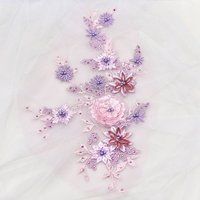 Bead lace applique 5 pcs,sequined Embroidery Multicolor lace applique with rhinestones,Purple floral sticker Wedding Accessories