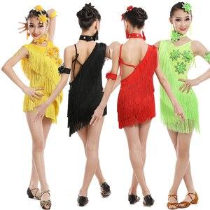 Image 4 - Vestido de competición con borlas y lentejuelas para niños, baile latino, práctica de gimnasia, fiesta de baile, escenario