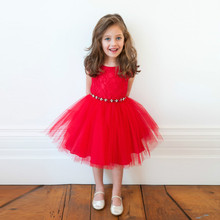 Summer Pure Red Lace Mesh Embroidery Gown Fancy Dresses Princess Dress Infant Baby Girls Clothes Wedding