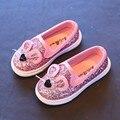 2016 de La Moda de Primavera Lentejuelas Bebés Niños Del Ratón de Dibujos Animados Zapatos Casuales para Niñas y Niños 3 Colores Calzado Chlidren tamaño 21-30 pisos