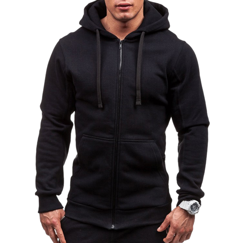 Men Fashion Hip Hop Pocket Zip Up Hooded Sweatshirt Casual Solid Long Sleeve Knitted Sport Sweatshirt Coat Outwear Jacket Tops