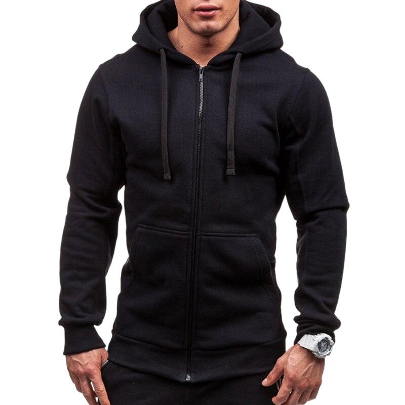 Moda masculina hip hop bolso zip up moletom com capuz casual sólido manga longa de malha esporte moletom casaco outwear casacos