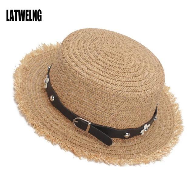 a1cab530339 New Women Summer Straw Sun Hats Flower Decoration Burr Flat Top Panama Sun  Visor Hat Beach