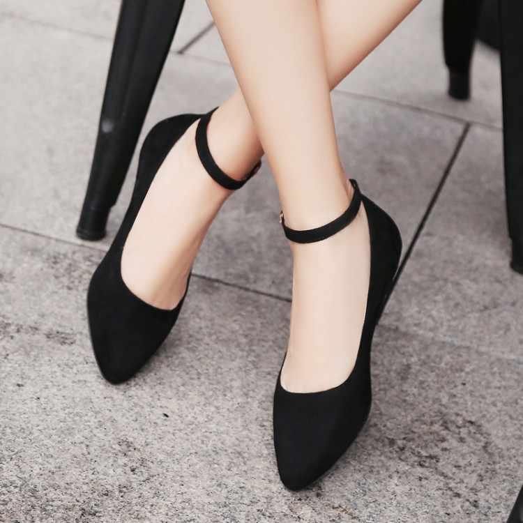 Große Größe 16 17 damen high heels frauen schuhe frau pumpt frauen Schuhe mit Tap-Taste und Flach Mund