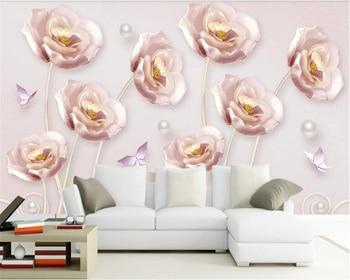 beibehang 3D embossed tulips modern minimalist European TV background wall papier peint  papel de parede wallpaper hudas beauty аксессуар bestfilament ватсон sbs пластик 1 75mm 1кг white