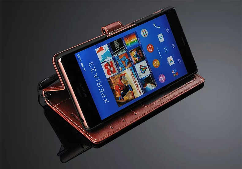 Prmiume Ví Bao da Dành Cho Sony Xperia Z Z1 Z2 Z3 Z4 Z5 Cao Cấp XA1 XZ XZ1 XZ2 XA2 C3 s39H Nhỏ Gọn Cực Plus Ví Bao Da