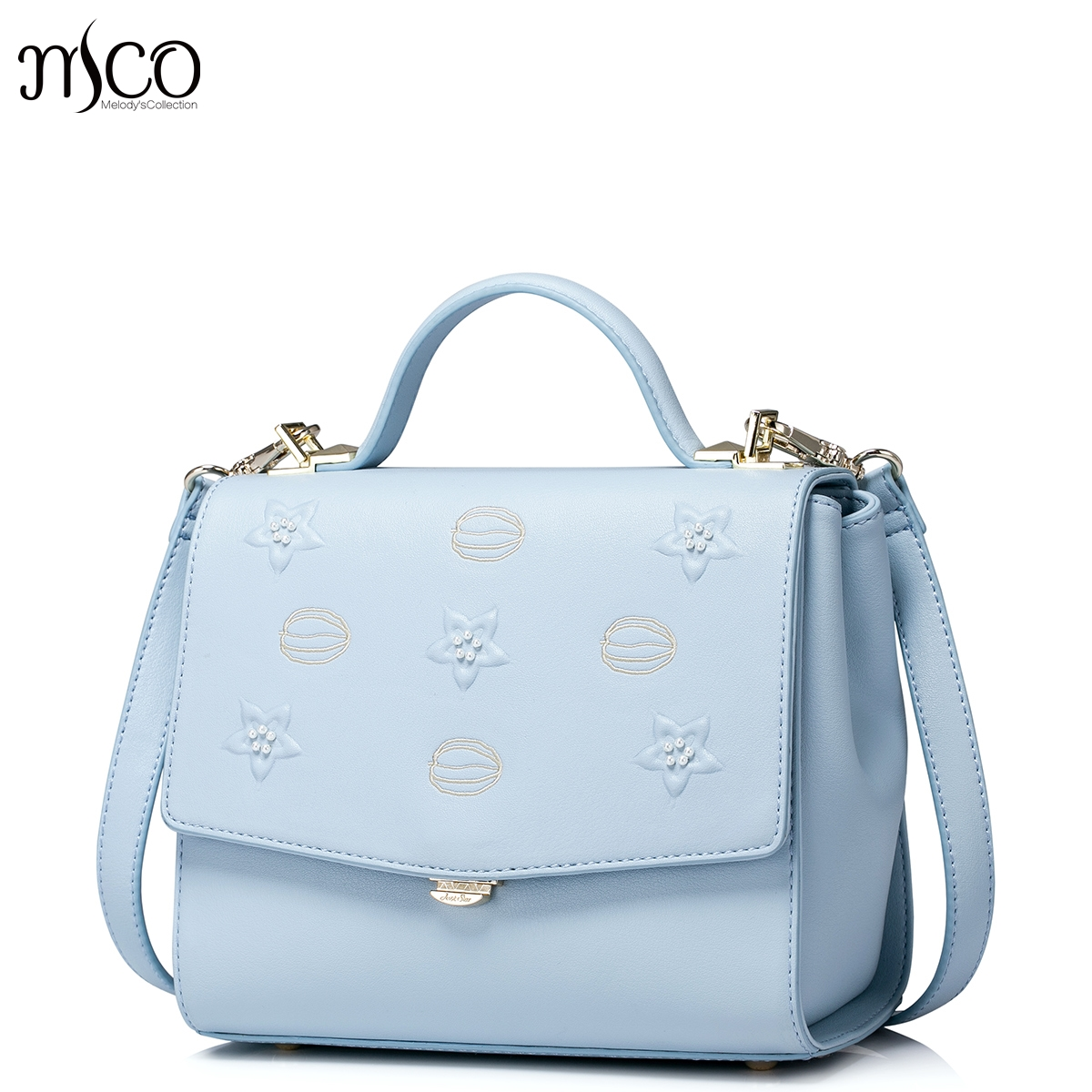 2017 New Fashion Stars Printing Fresh Blue Flap Handbag For OL Ladies Luxury Embroidery Women Shoulder Bag Small Messenger Bags anteater куртка anteater m65 black s