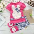 Новый 2016 комплект одежды лета детская одежда девушки брюки устанавливает детской одежды кролик укороченные брюки детские и детей