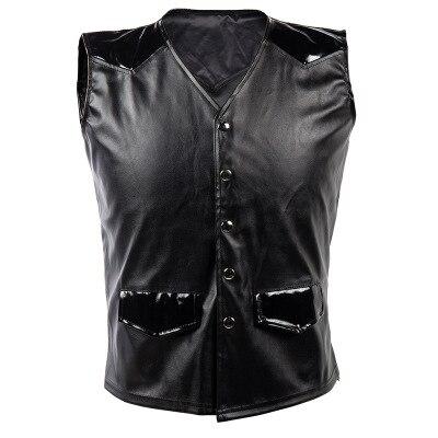 Suit Vest Waistcoats Slim-Fit Punk Black Casual V-Neck Male Solid-Color Men