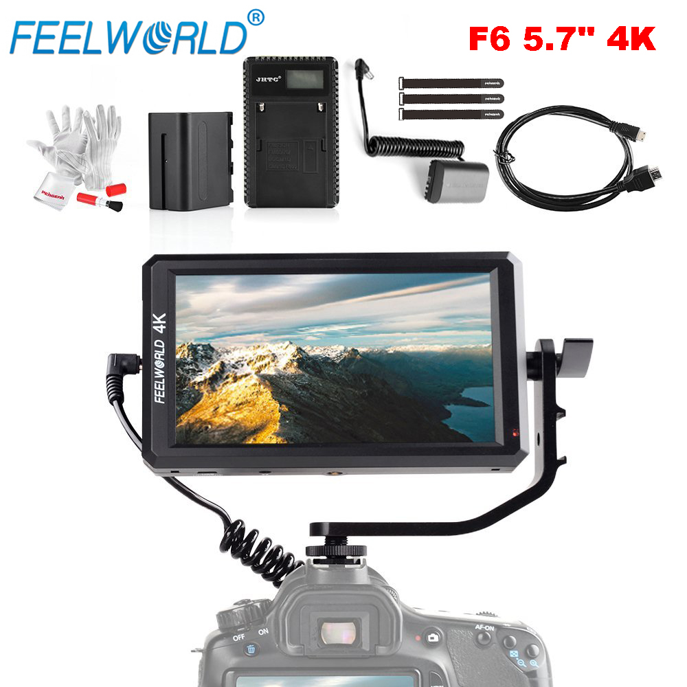 Feelworld F6 5.7 Inch 1920x1080 IPS LED Panel Support 4K HDMI Input Full HD On-Camera Monitor for Camera with Battery Ultra-Thin