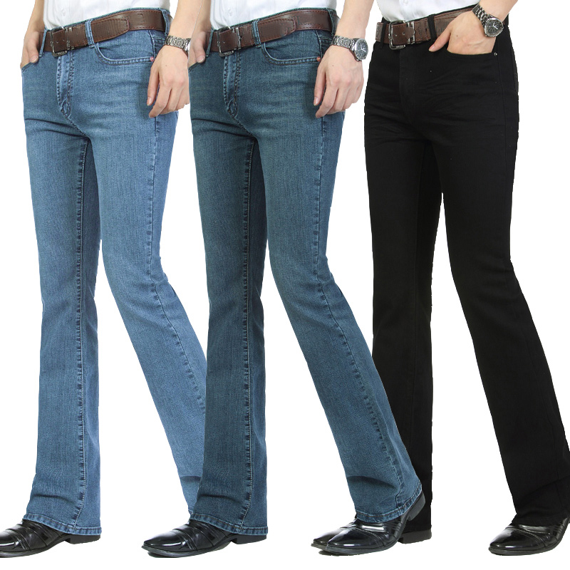 Mens Business Casual Jeans Male Mid Waist Elastic Slim Boot Cut Semi-flared Four Seasons Bell Bottom Jeans 27-36