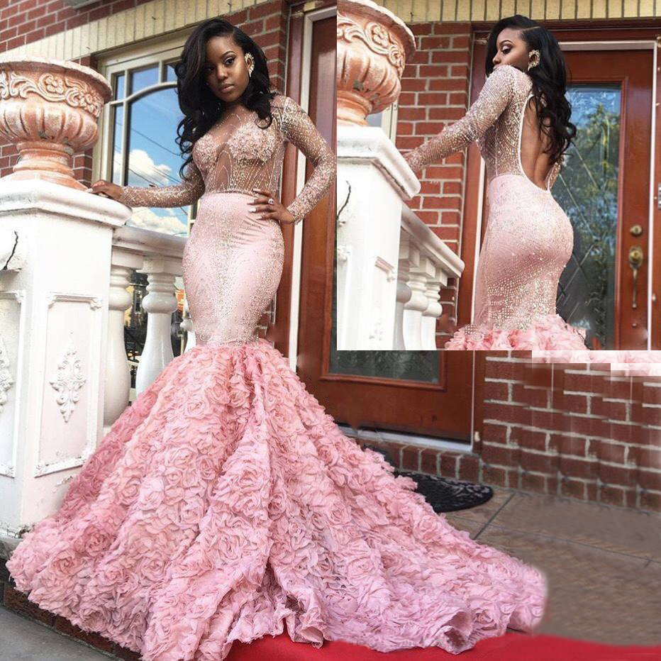 Us 17986 Elegant 2019 Long Prom Dresses Sexy See Through Long Sleeves Backless Mermaid Evening Gowns South African Lace Formal Dress In Prom