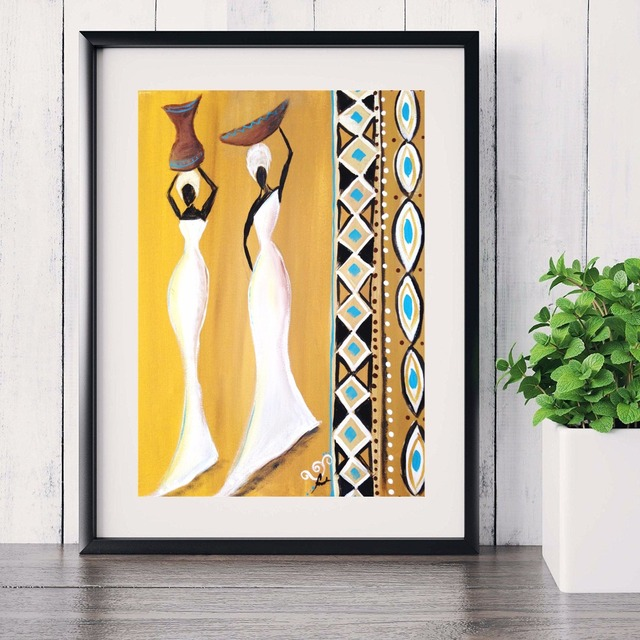 3 Panels African Woman Modern Poster Art Wall Pictures Silk Fabric ...