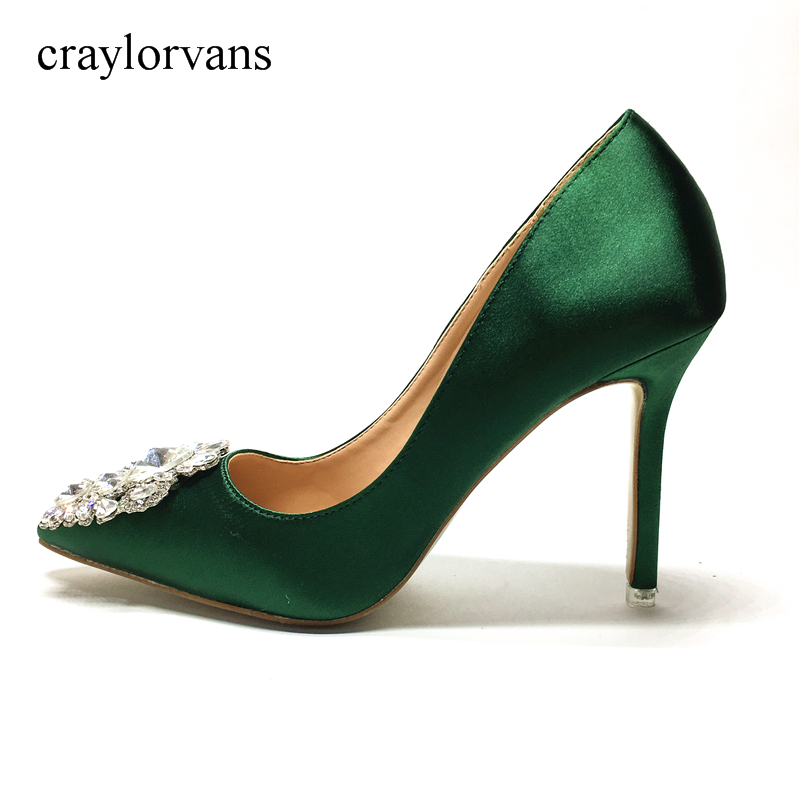 2017 New Glitter Rhinestone High Heels Shoes Green Color Women Pumps Pointed toe Woman Crystal Wedding