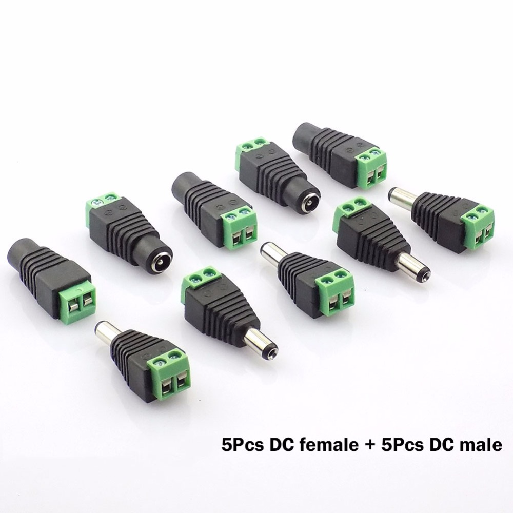 5pcs Female 2.1x5.5mm Dc Power Plug Jack Adapter Connector Plug For Cctv Single Color Led Strip Light Careful Calculation And Strict Budgeting Lights & Lighting Dc12v 5pcs Male