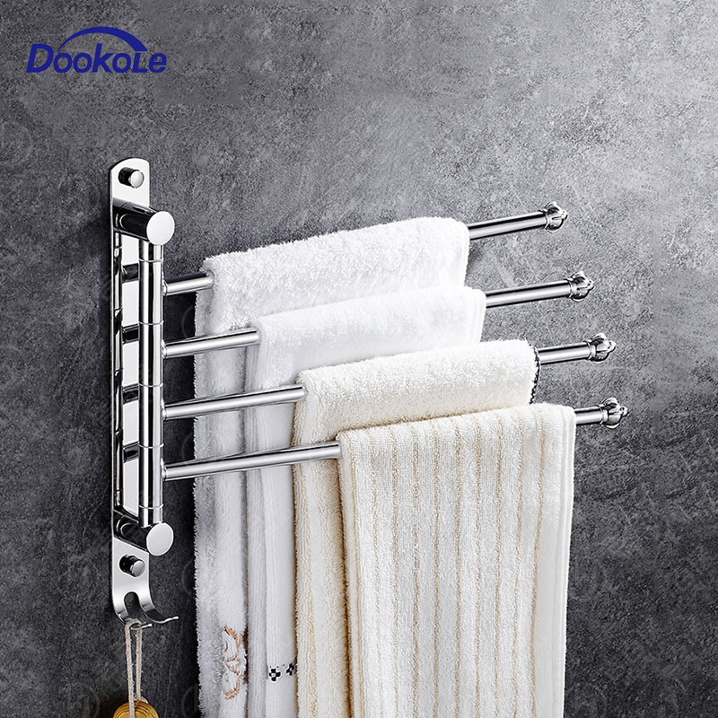 Bathroom Swivel Towel Bar 4-Arm Stainless Steel Swing Hanger Towel Rack with Hook Space Saving Wall Mount Rotating Towel Rail