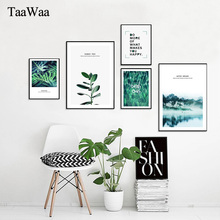 TAAWAA Green Leaves Posters Plants Motivational Painting Quote Wall Art Canvas Prints Picture Nordic Decoration Home Decor